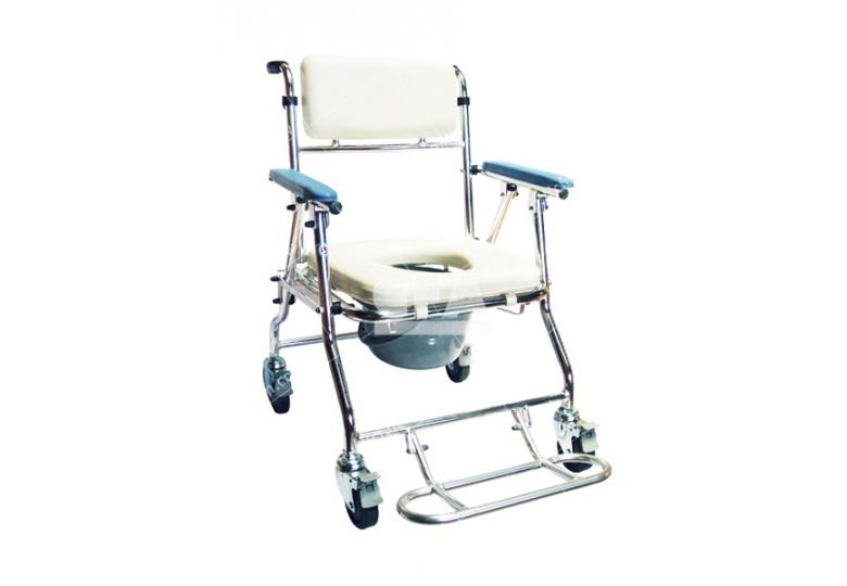免運【好鄰居】AL1074 附輪收合鋁製便器椅-四小輪