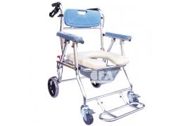 免運【好鄰居】AL107S 附輪收合鋁製便器椅-後煞
